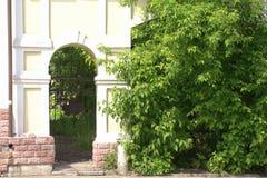 Gammal välvd passage i en tegelstenvägg bland gröna träd royaltyfria foton