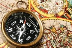 gammal värld för kompassöversikt Arkivfoton