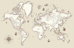 Gammal världskarta med dekorativa beståndsdelar Arkivbild