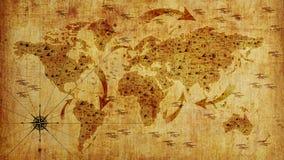 Gammal världskarta, med pilar och lättnad Fototapet illustration 3d royaltyfri illustrationer