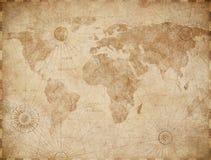 Gammal världskartaillustration för tappning vektor illustrationer