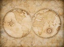 Gammal världskartaillustration som baseras på bilden som möbleras av NASA arkivfoto