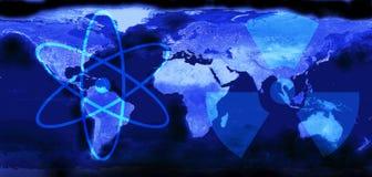 gammal v?rld f?r illustration?versikt Sikt från yttre rymd Symboler av atomen och radioaktivitet Fridsamt kärnenergibegrepp royaltyfri illustrationer