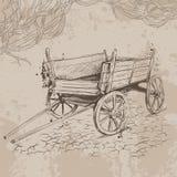 Gammal vagn för blyertspennateckning på en beige bakgrund royaltyfri illustrationer