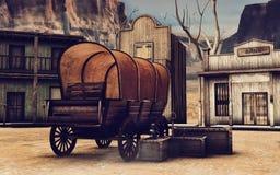 Gammal vagn i en trästad stock illustrationer