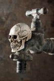 Gammal vattenkran med skallen Royaltyfri Fotografi