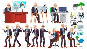 Gammal vektor för kontorsarbetare Framsidasinnesrörelser, olika gester isolerad man för bakgrund affär över white Yrkesmässig kab royaltyfri illustrationer