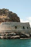 Gammal venetian fästning på den Spinalonga ön, Kreta, Grekland Arkivfoto