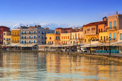 Gammal Venetian hamn av Chania på Kreta, Grekland Royaltyfria Foton