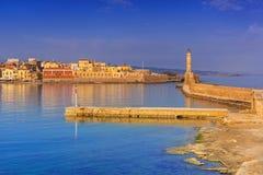 Gammal Venetian port av Chania på soluppgång, Kreta Arkivfoton