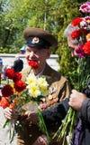 Gammal veteran på vicrory dag Fotografering för Bildbyråer