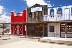 Gammal vilda västerndiversehandel, gammal amerikansk västra stad arkivfoto