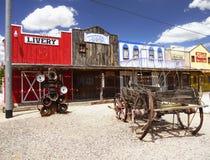 Gammal vilda västerndiversehandel, gammal amerikansk västra stad arkivbild