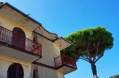 Gammal villa och pinia i havssemesterortLido delle Nazioni, Adriatiska havet kust, Italien arkivfoton