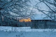 gammal vinter för ladugård Royaltyfri Bild