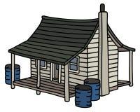 Gammal vit planked hus royaltyfri illustrationer