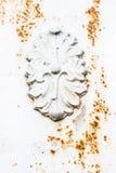 Gammal vit rostig metalldörr som härlig tappningbakgrund Royaltyfria Bilder