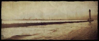 Gammal Vorontsov fyr i den Odessa hamnen arkivbilder