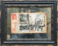 Gammal vykort av paris 1273 år i svart ram Fotografering för Bildbyråer