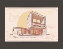 Gammal vykort med en bild av en byggnad Arkivbild