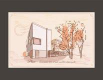 Gammal vykort med en bild av en byggnad Royaltyfri Foto