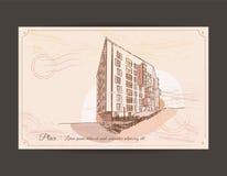 Gammal vykort med en bild av en byggnad Royaltyfria Foton