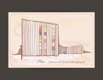 Gammal vykort med en bild av en byggnad Royaltyfria Bilder