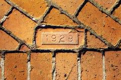 gammal walkway för tegelsten Fotografering för Bildbyråer