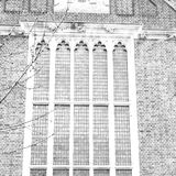 gammal windon i England london tegelsten och exponeringsglas väggen Arkivfoto
