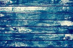 Gammal wood bakgrund för skröpliga grungeblått Arkivfoto