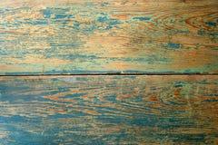 Gammal wood textur med en blå målarfärgframdel Arkivbilder