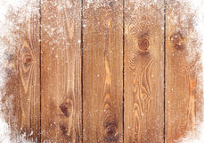 Gammal wood textur med snö Arkivfoton