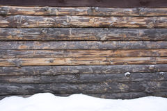 Gammal wood textur med snöjulbakgrund Royaltyfria Bilder