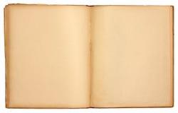 gammala öppna sidor för blank bok Arkivbilder