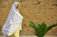 Gammala arabiska kvinnor med white skyler Royaltyfri Bild