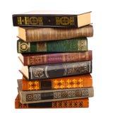 Gammala böcker som isoleras på white Arkivfoto