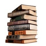 Gammala böcker som isoleras på white Royaltyfri Foto