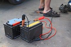 gammala batterier Arkivbild