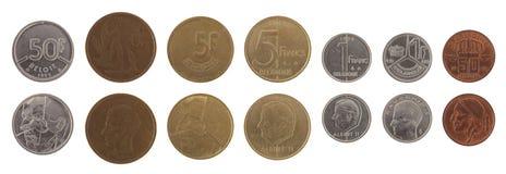 Gammala belgiska mynt som isoleras på White Fotografering för Bildbyråer