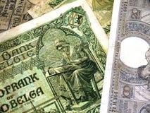Gammala belgiska sedlar av 20-tal - 30-tal Arkivbild