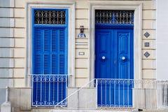 Gammala balkong och fönster i malta Royaltyfri Fotografi
