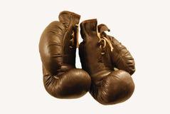 gammala boxas danade handskar Arkivbild