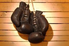 gammala boxninghandskar Royaltyfri Fotografi