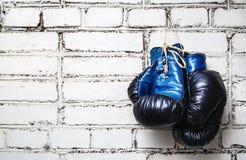 gammala boxninghandskar Royaltyfri Foto