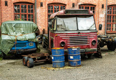 Gammala byggda om Volvo bussar royaltyfri fotografi