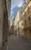 Gammala byggnader, kullersten pavemen Royaltyfria Bilder
