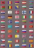 gammala europeiska flaggor Arkivfoton