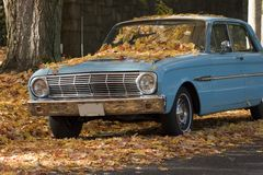 gammala fallande leaves för bil arkivbild