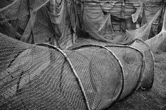 gammala fisknät Royaltyfria Bilder