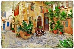 Gammala gator av Grekland, Crete Arkivbild